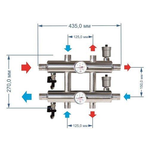 Гидравлический разделитель GK 32-3, 85 кВт, 3 контура.