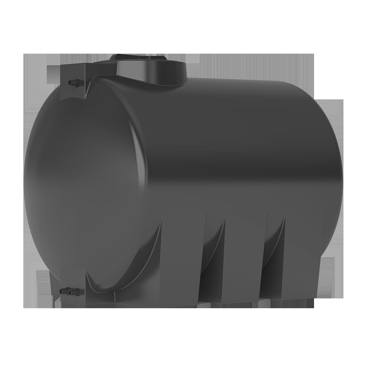 Бак для воды горизонтальный цилиндрический черный АТH 1000 с поплавком - фото