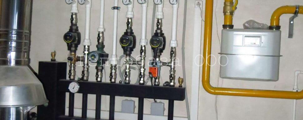 газовая труба в котельной